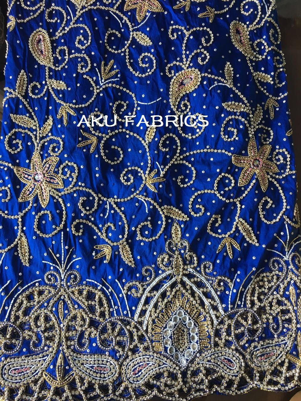 c1a54cd501d3b8 ROYAL BLUE Heavy Beaded Stone Silk Indian George Fabric Heavy Beaded  Nigerian George Lace with Blouse