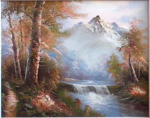 Oil Painting Canvas Signed M Scott 3 D Impasto Landscape Snow Mountains River Canvas Painting Landscape Landscape Canvas Painting