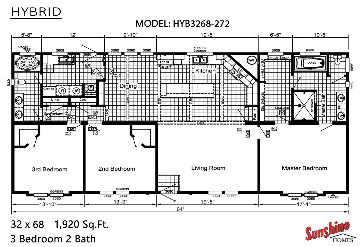 Floor Plan Hybrid Hyb3268 272 Sunshine Homes Modular Homes