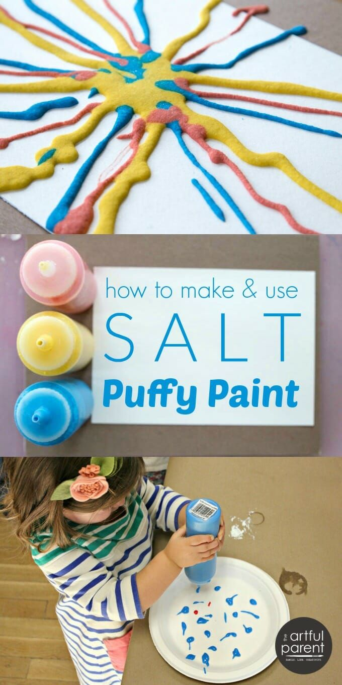How to Make and Use Salt Puffy Paint is part of Process art - Here's how to make and use DIY salt puffy paint with kids (with a video showing the art activity in action!)  This is a triedandtrue favorite process art material and technique for children of all ages  Have you tried salt puffy paint  Not many people I know have, but it's awesome  The paint is simply a mix of equal parts salt, flour, and water with a bit of tempera paint added for color  So super easy and inexpensive to make! You apply it with a squeeze bottle (half the fun!) or an icing bag, and because of the viscosity of the paint, it stays raised, like frosting  Hence the 'puffy paint' even though it's not actually puffy to the touch  Once the paint dries, it's hard and crystalline (all that salt!)  What's cool is that the colors stay separate rather than mix  You could squeeze out a puddle of yellow salt paint, then add drops of blue on top and those drops of blue would hold their shape and color and separateness until dried  Everyone seems to love using this kind of paint! From youngest toddlers just getting the joy of squeezing a bottle and watching the paint come out to older