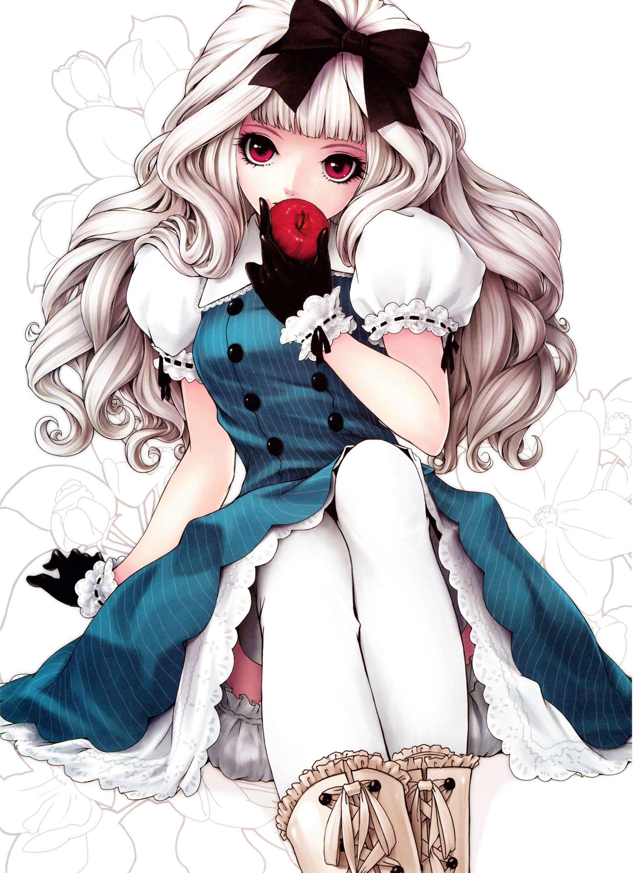 Anime manga alice in wonderland red apple gothic lolita anime