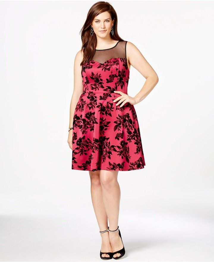 f7a96a557692 Pin for Later: Be the Belle of the Ball in These Plus-Size Party Dresses  Trixxi Plus Size Floral-Print Illusion Skater Dress Trixxi Plus Size Floral- Print ...