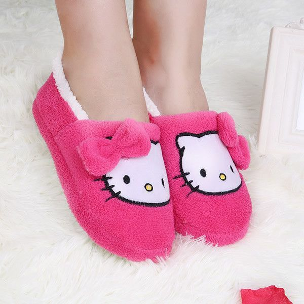 Women House Slippers HelloKitty Plush Warm Home Thermal Indoor Soft Sole Shoes