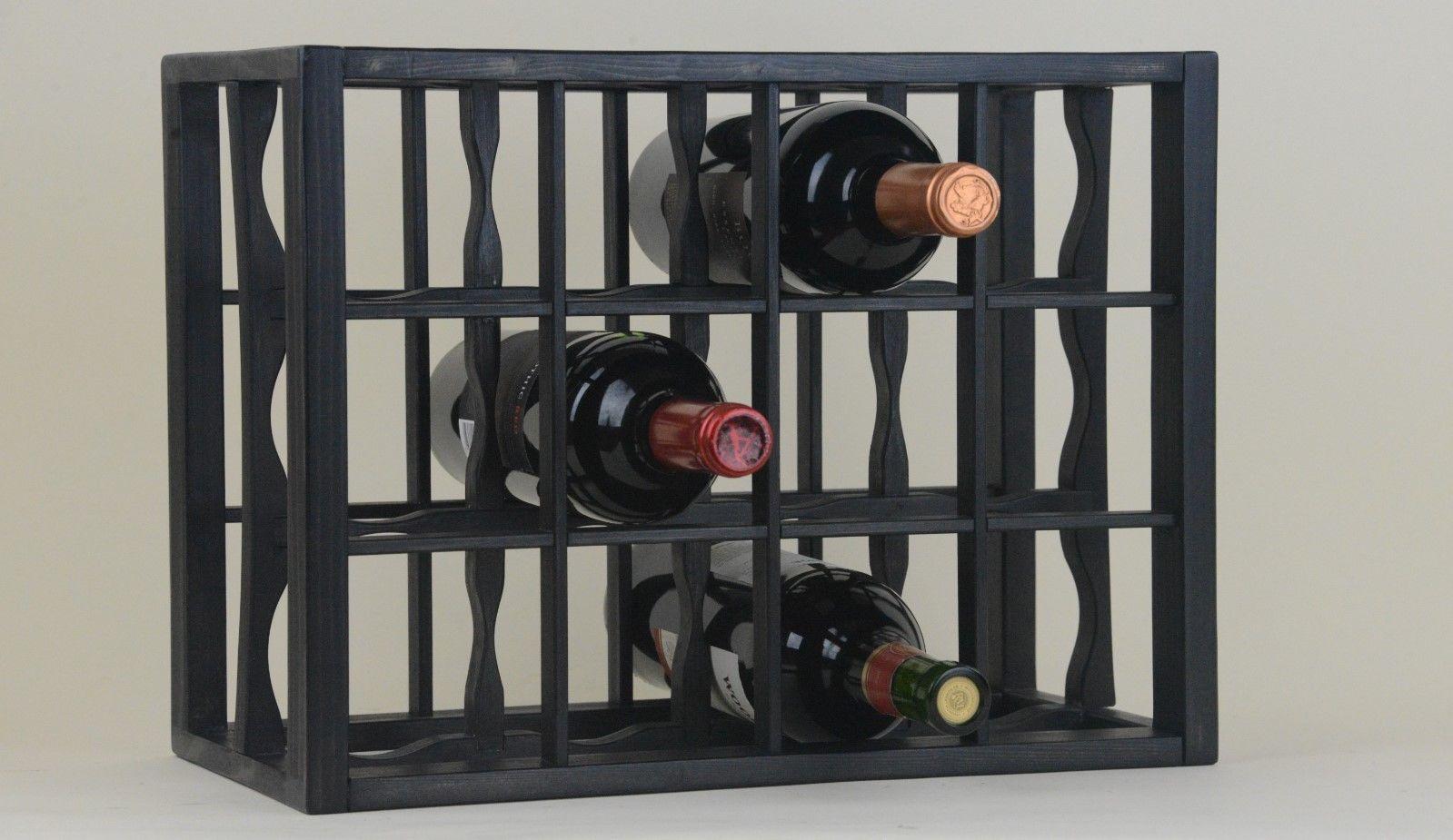 Victoria Wine Rack 12 Bottles Wood Black Stain And Lacquered