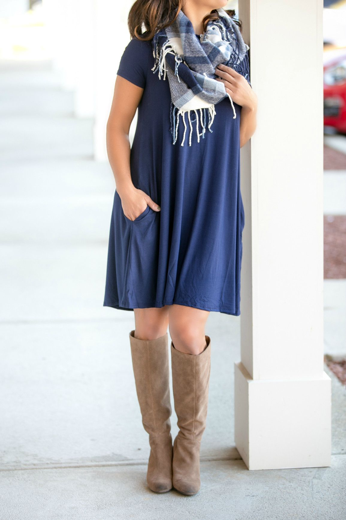 Everything you Want Dress in Navy – Jenny Boston Boutique