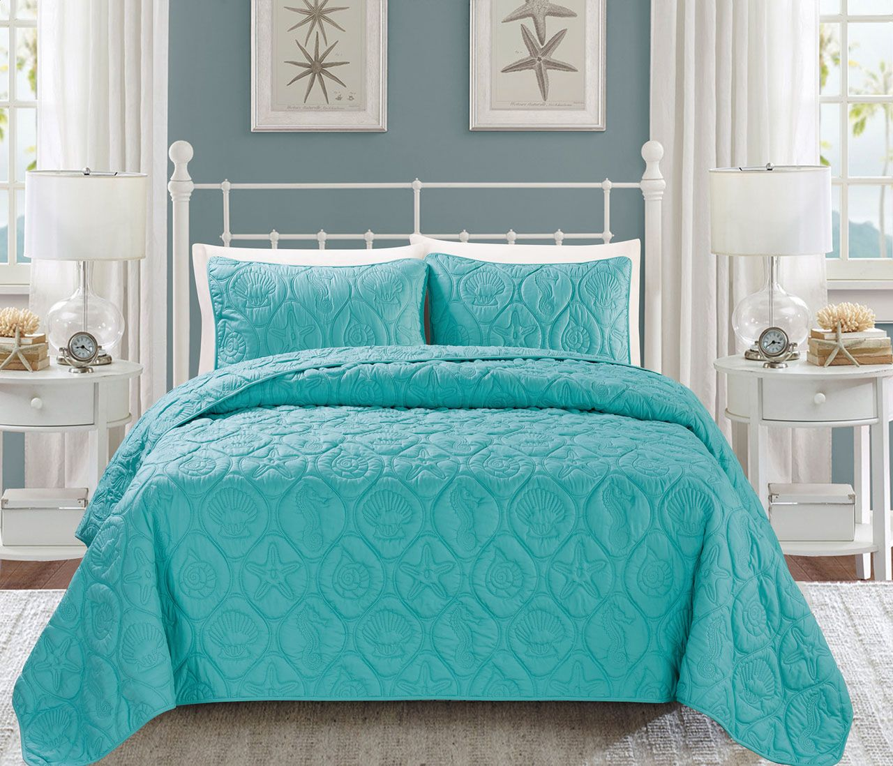 Seashell Spa Blue Reversible Bedspread/Quilt Set | Master bedroom ... : teal quilt bedding - Adamdwight.com