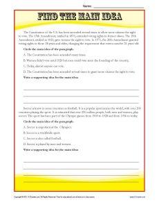 Middle School Main Idea Reading Passage Worksheet | classroom ...