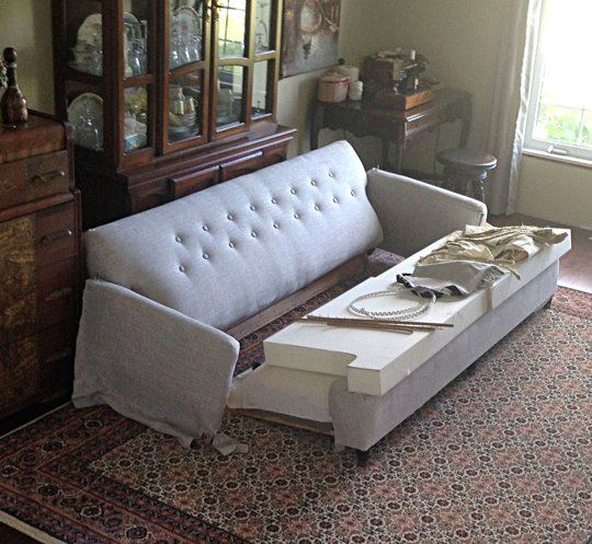 Reupholster Sleeper Sofa: Before & After: A Frumpy To Fabulous Reupholstered Couch