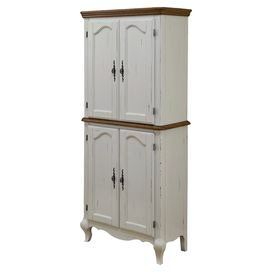 Best Pantry In Distressed White With 4 Cabinet Drawers And 400 x 300