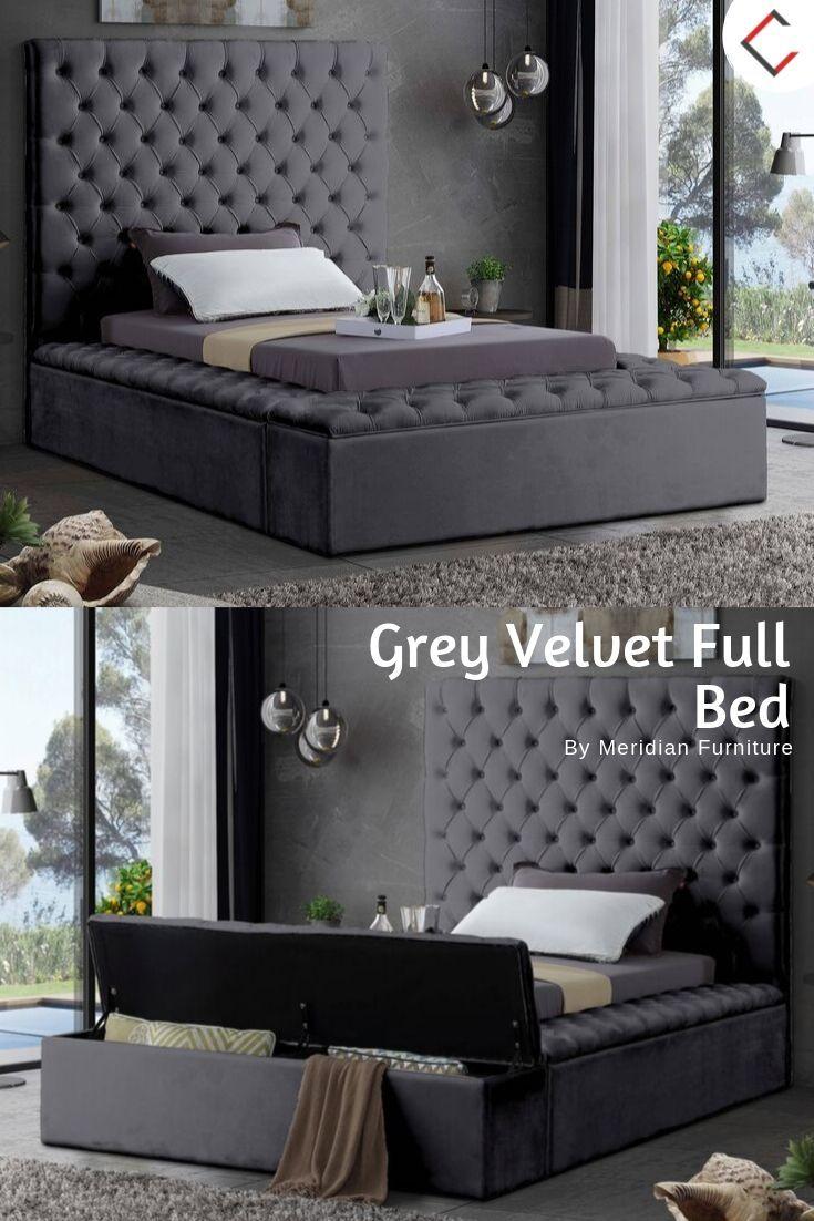 Meridian Furniture Bliss Grey Velvet Full Bed Furniture