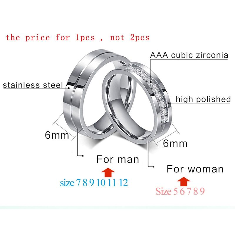 Cz Wedding Band Engagement Rings For Couples Women Men 316l
