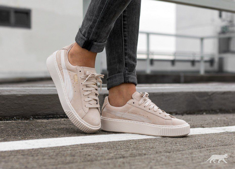 puma suede platform mono satin pink tint stillettoes. Black Bedroom Furniture Sets. Home Design Ideas