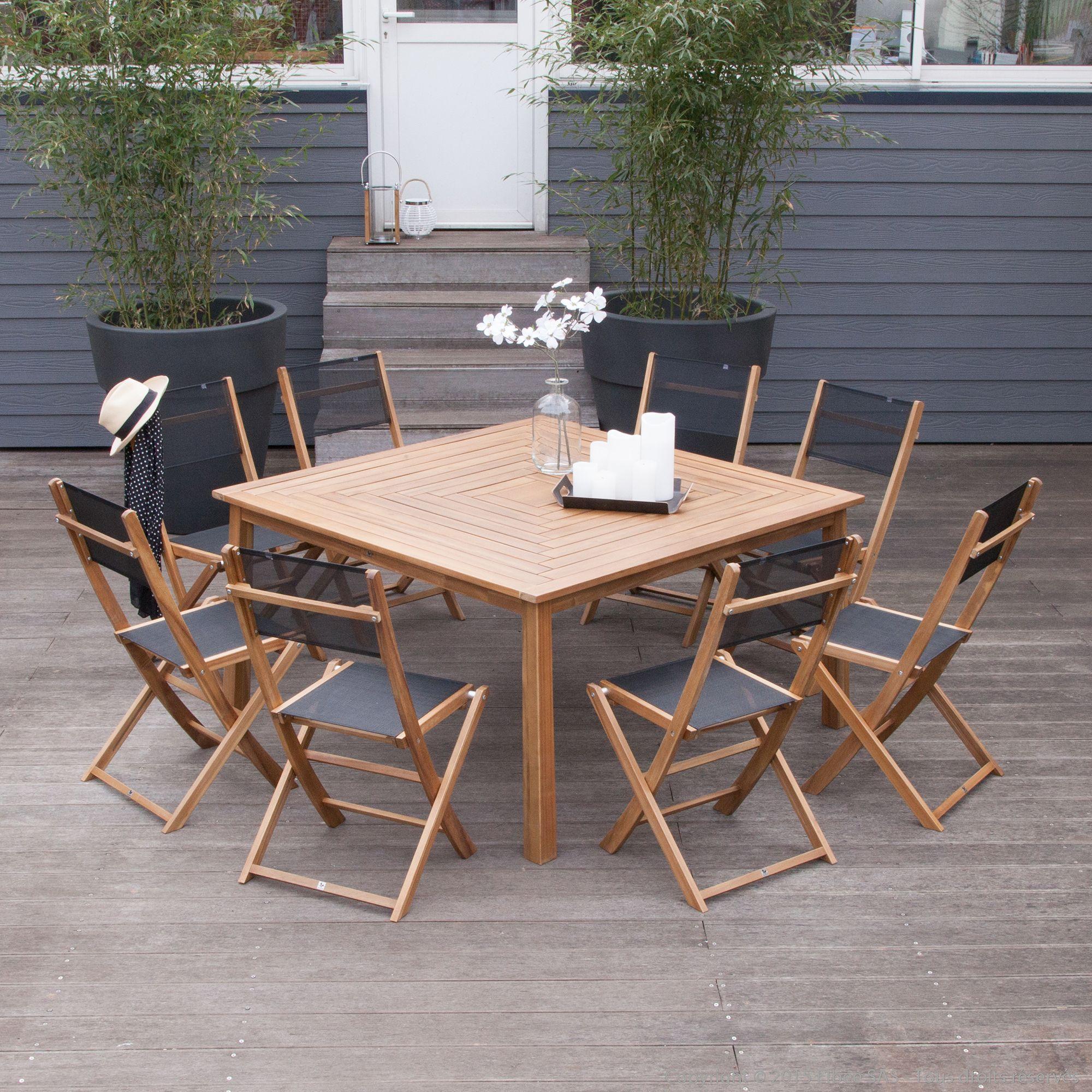 Salon de jardin 8 places : 1 table carré en Acacia FSC + 8 chaises ...