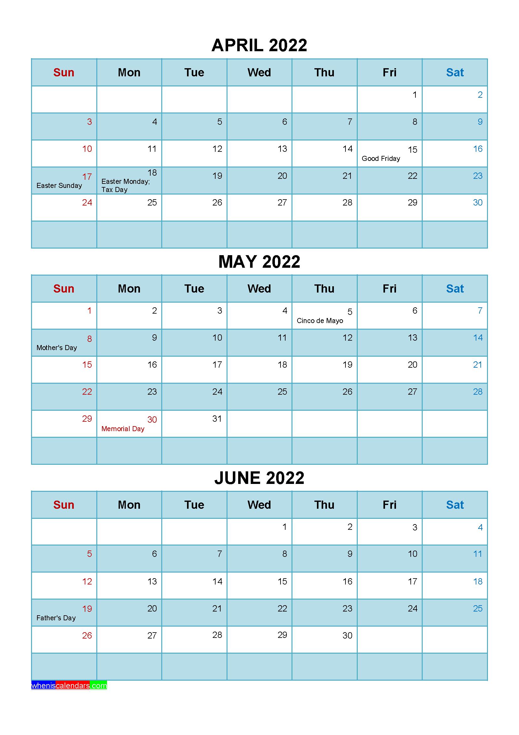 May June 2022 Calendar.Free April May June 2022 Calendar With Holidays Four Quarters Calendar Printables Quarterly Calendar Calendar Template