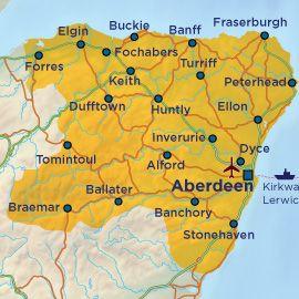 Map of Aberdeen Aberdeenshire and Moray Scotland Ireland