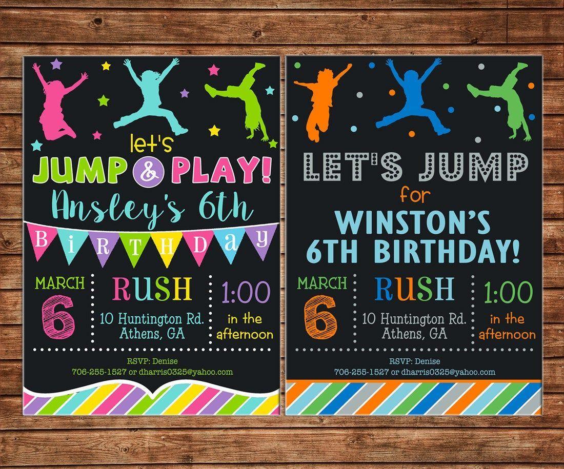 Trampoline Birthday Party Invitation Template Free Trampoline