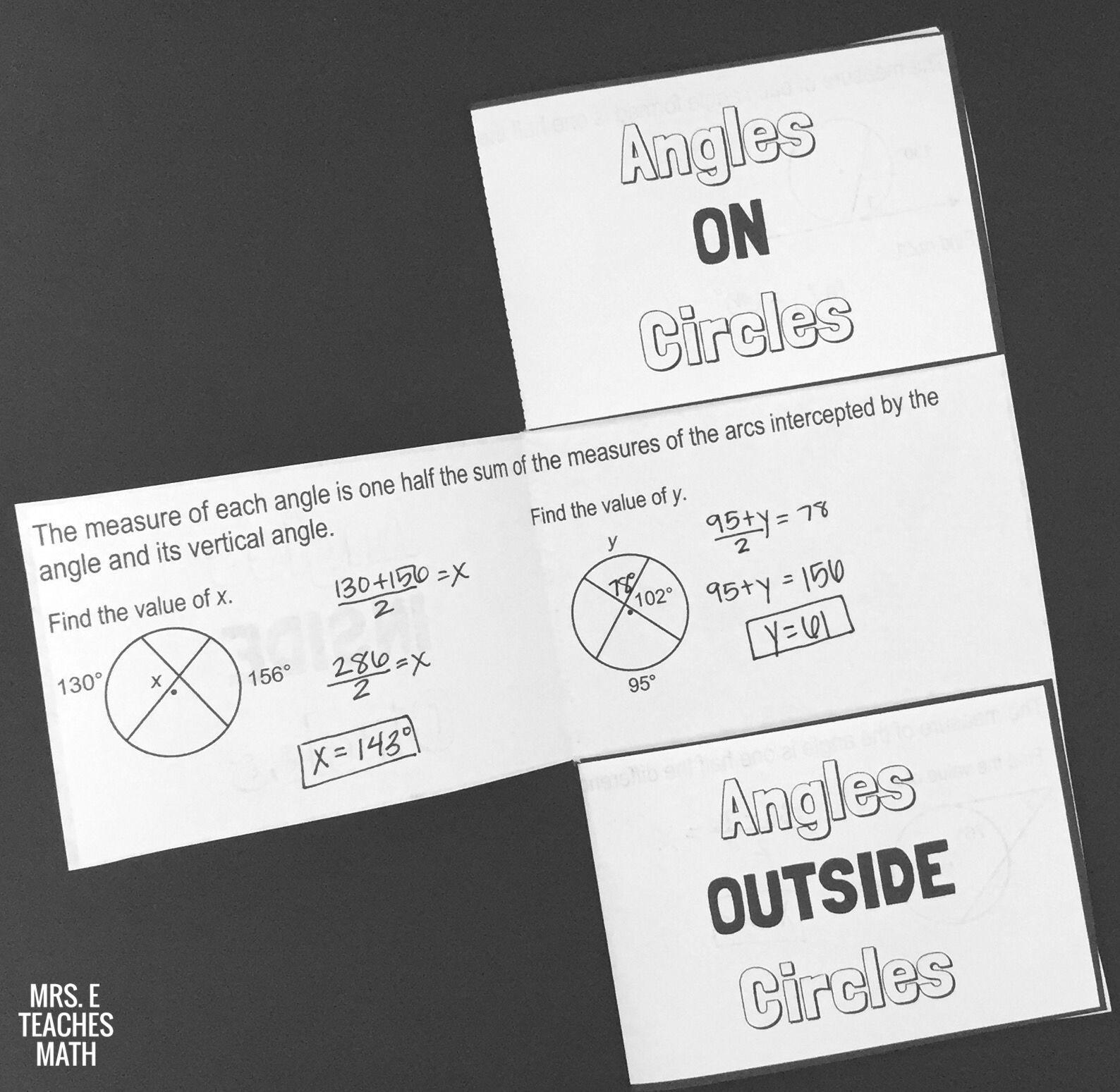 Angles And Circles Foldable