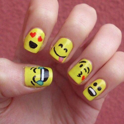 Emoticon Nail Art Nail Art For Kids Emoji Nails Kids Nail Designs