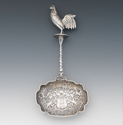 Large Dutch Silver Strainer Spoon with Cockrel Finial