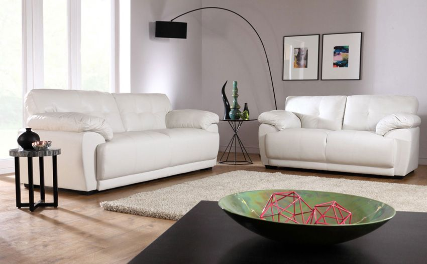 Sienna Ivory Leather Sofa