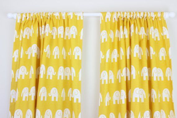 Elephant Nursery Curtain Panels Corn Yellow D