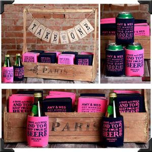 modern design with rustic flare display favors koozies