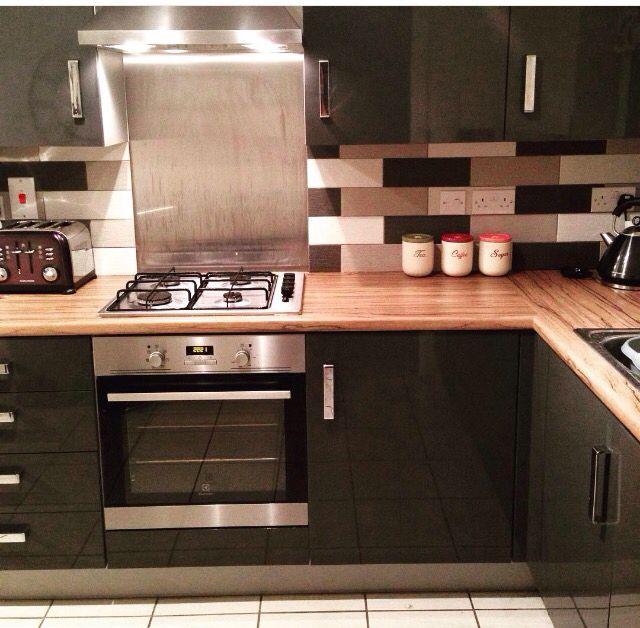 Kitchen Tiles Black Worktop woodbury anthracite kitchen and walnut worktop from #symphony
