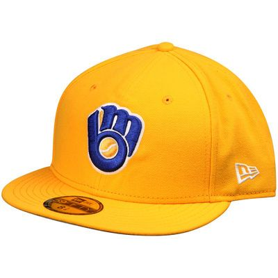 a868de09f890cd Men's Milwaukee Brewers New Era Gold Basic 59FIFTY Fitted Hat ...