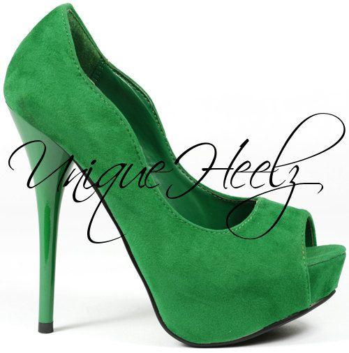 Swarovski Crystal  Emerald Green w/ Green Swarovski by UniqueHeelz, $165.00