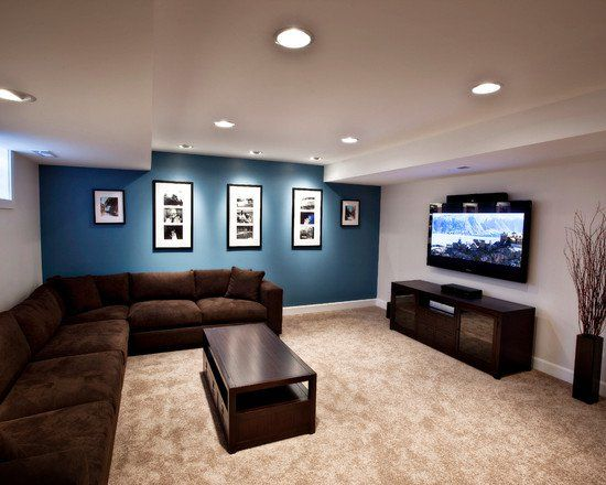 Awesome Basement Remodel Decorating Ideas: Sleek Minimalist Media Room  Brown Sofa Foxgate Basement Renovation ~