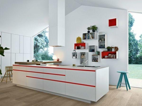 moderne Küche Farben grün weiß Poliform Kochinsel Laminat   Kitchen ...