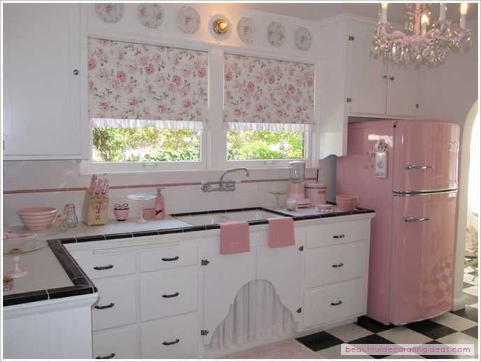 Love everything about this kitchen.  Except maybe change out the pink for turquoise.