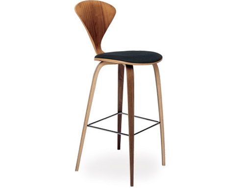 norman cherner wood leg stool upholstered seat from cherner chair company
