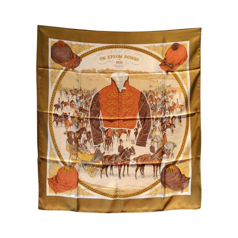 Hermes Vintage-on Epsom Downs Silk Scarf | From a collection of rare vintage scarves at https://www.1stdibs.com/fashion/accessories/scarves/