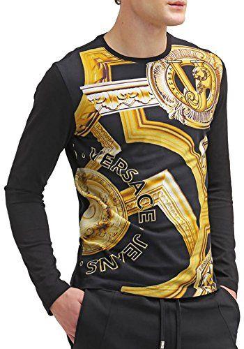 7d66085aa8fb60 VERSACE Versace Jeans Printed Long Sleeve T Shirt, Black W Gold. #versace  #cloth #