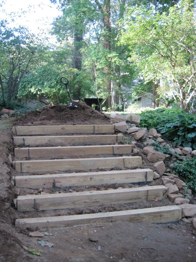 How to make hillside railroad tie landscape stairs for Steps on building a house
