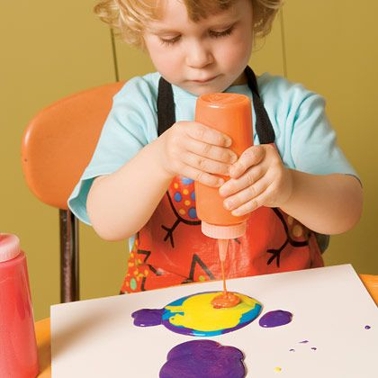 A cross between paint and dough, this delightful concoction is fun to squeeze out into puffy, colorful designs. As it dries, the salt in the dough crystallizes, leaving behind a glittering abstraction. Here's how to make enough for 2 bottles.