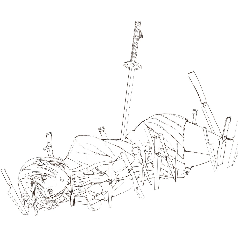 Lineart anime sword girl monochrome black and white