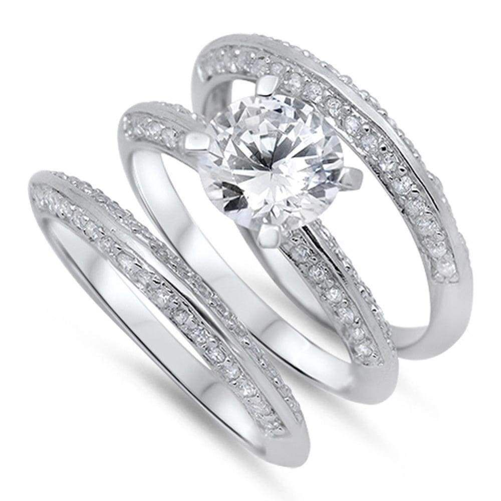 2 Carat Knife Edge Cubic Zirconia 3 Band Bridal Wedding Set Lab