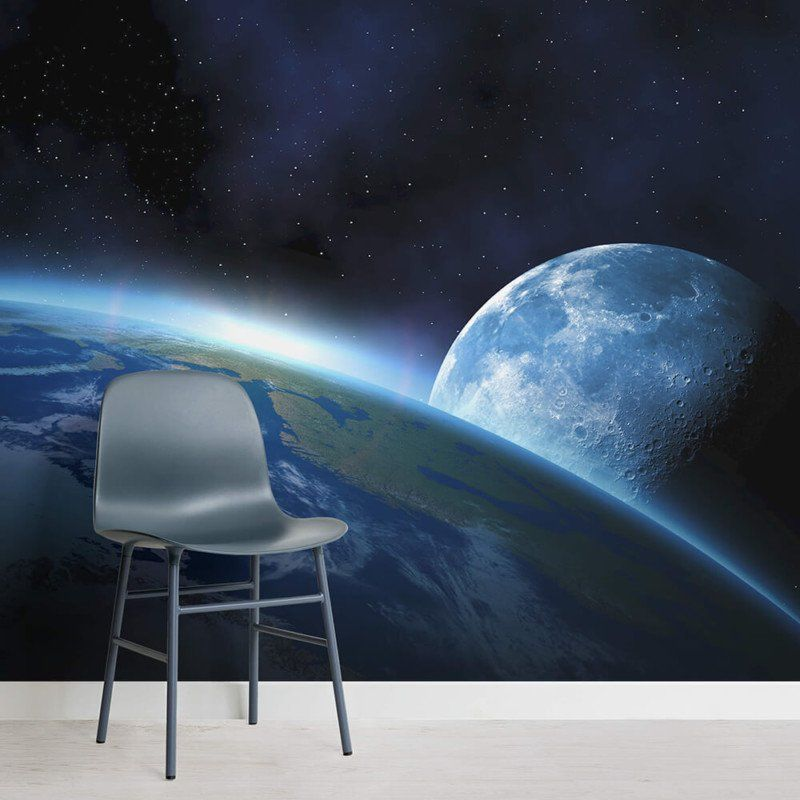 Earth Moon Space Wallpaper Mural Hovia Outer Space Wallpaper Wall Murals Moon And Stars Wallpaper