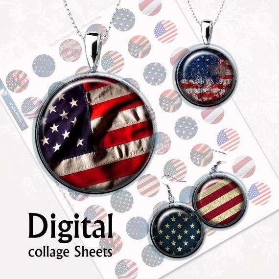 Amerikanische Flagge. Digital Collage Sheet 1 von MyMidnightMoon
