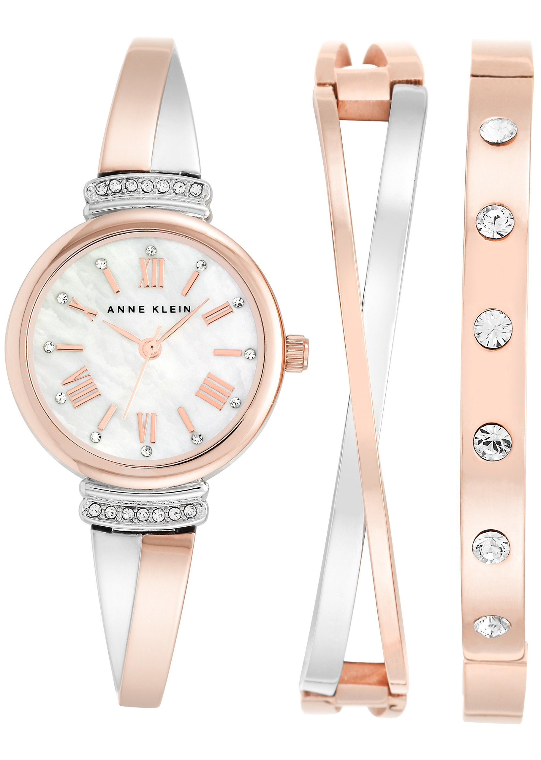 db86b1ee8449f Anne Klein Women s AK 2245RTST Swarovski Crystal Accented Rose Gold-Tone  and Silver-Tone Bangle Watch and Bracelet Set