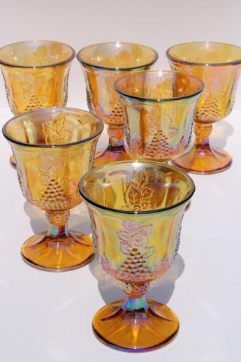 Marigoald goblets Vintage carnival glass Set of 2