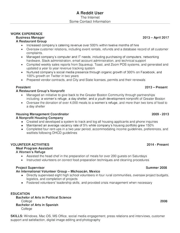 Resume Templates Reddit Resume Templates