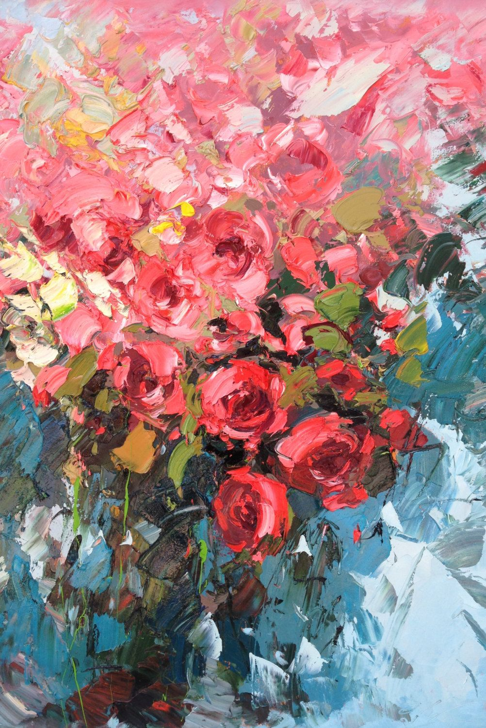 Red Roses Painting on Canvas, Original Art, Flowers