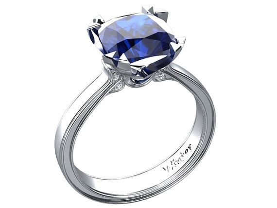 Hey, I found this really awesome Etsy listing at https://www.etsy.com/listing/211777713/cushion-cut-blue-sapphire-engagement