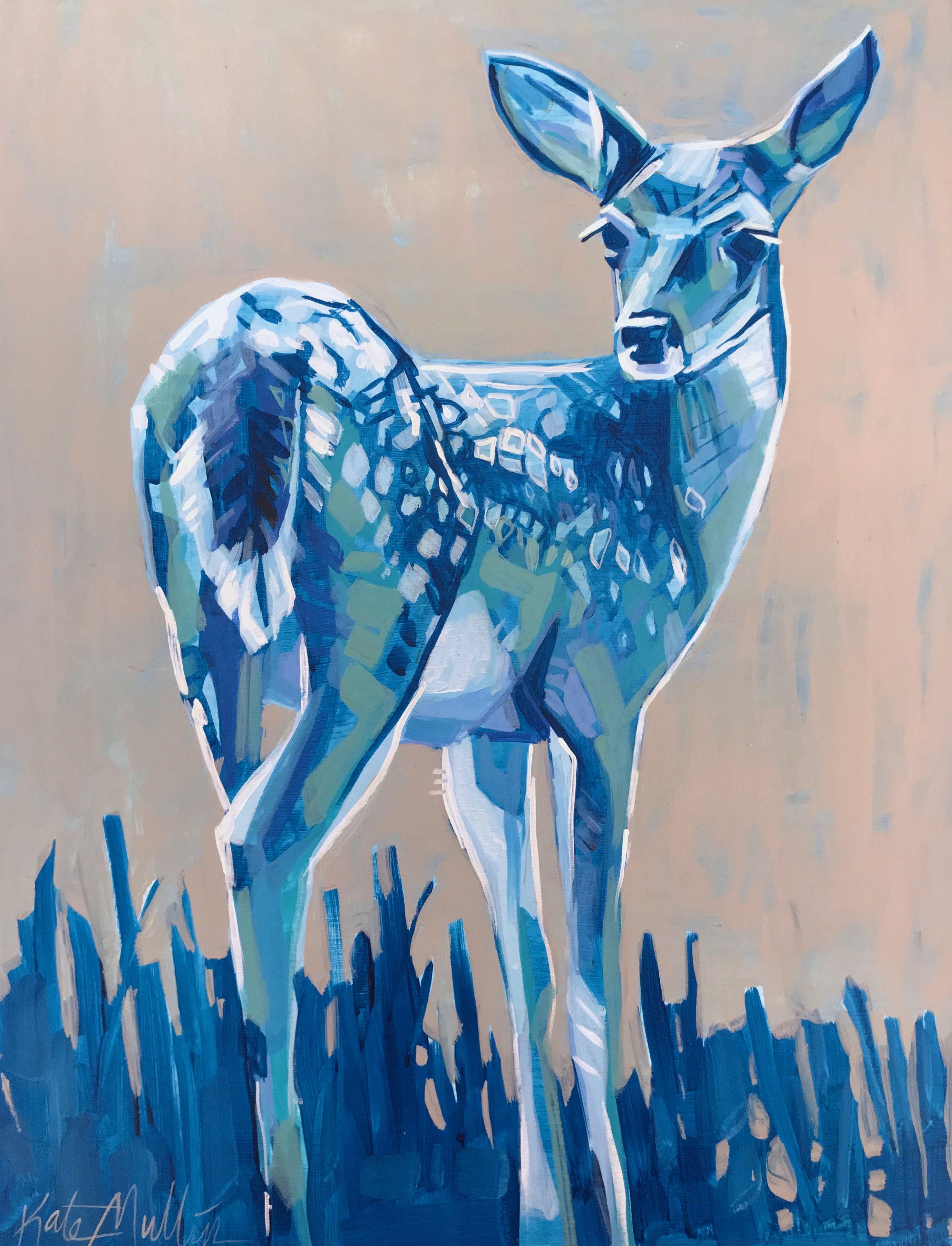 Deer Painting Kate Mullin Williford. Blue Deer. Art Pinturas Arte Inspiraci