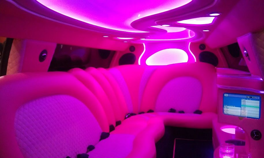Interior of the pink dodge charger at the 2013
