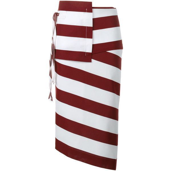 No21 Striped Asymmetric Pencil Skirt (7.985.325 IDR) ❤ liked on Polyvore featuring skirts, stripe, stripe pencil skirt, red and white stripe skirt, knee length pencil skirt, stripe skirt and asymmetrical wrap skirt