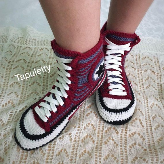1329a6a428d8 Christmas present for girlfriend Knit converse boots Crochet converse  slippers Adult crochet convers